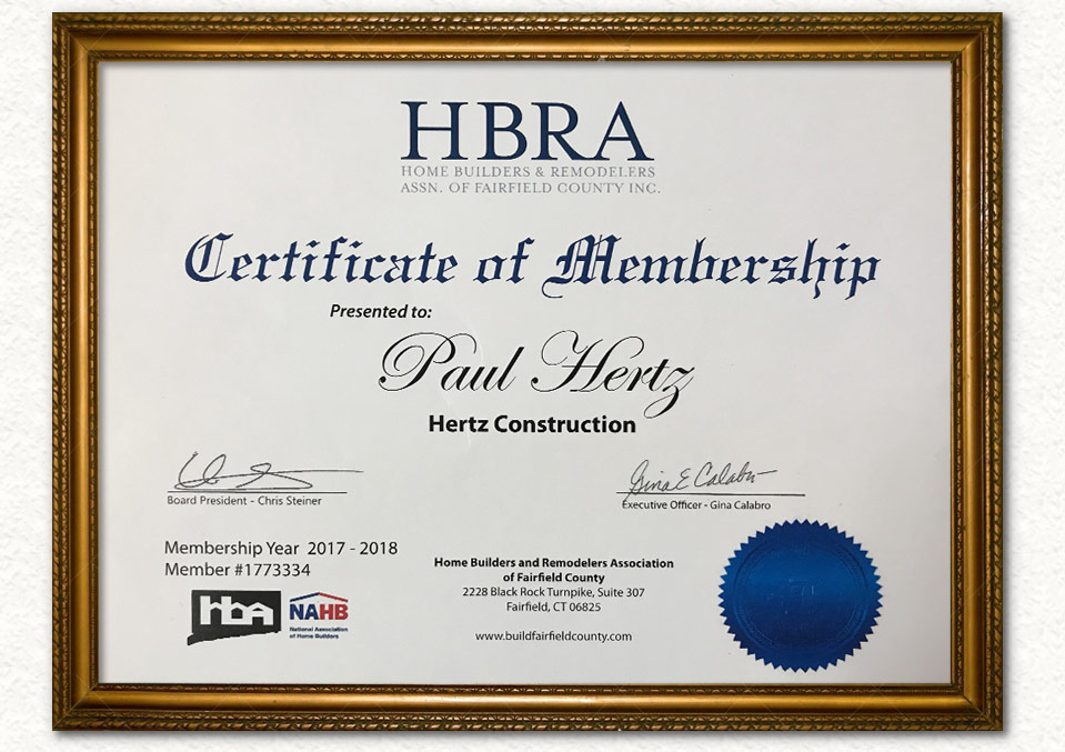 HBRA Certificate of Membership